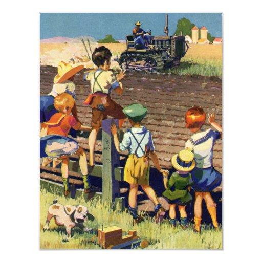 Niños del vintage que agitan al granjero local en invitación 10,8 x 13,9 cm
