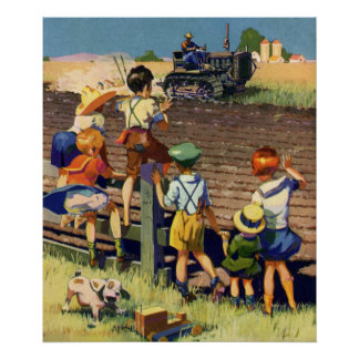 Niños del vintage que agitan al granjero local en póster