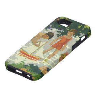 Niños del vintage que juegan la charca del verano iPhone 5 funda
