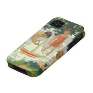Niños del vintage que juegan la charca del verano iPhone 4 fundas