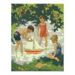 Niños del vintage que juegan la charca del verano invitación 10,8 x 13,9 cm