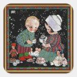 Niños del vintage que tienen una fiesta del té con calcomanías cuadradass personalizadas