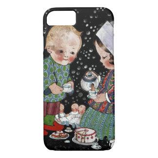 Niños del vintage que tienen una fiesta del té del funda iPhone 7