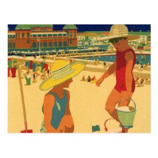 Niños del vintage, vacaciones de familia de las tarjetas postales