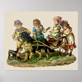 Niños del vintage y carro de perro impresiones