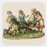 Niños del vintage y carro de perro pegatina cuadrada