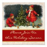 Niños del vintage y cena del árbol de navidad comunicado personalizado