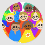 Niños diversos etiqueta redonda