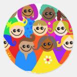 Niños diversos pegatina redonda