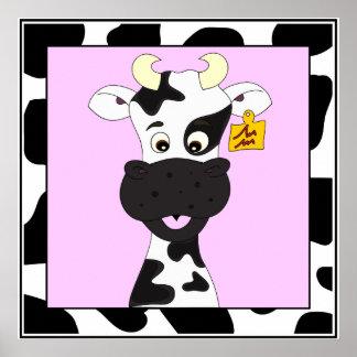 Niños divertidos del dibujo animado de la vaca póster