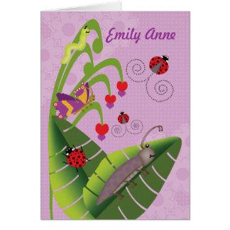 Niños dulces de los insectos en el nombre tarjeta de felicitación