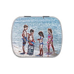 niños en el bosquejo de la playa que juega en jarrones de dulces