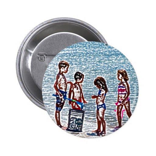 niños en el bosquejo de la playa que juega en pins