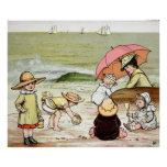 Niños en el poster de la playa