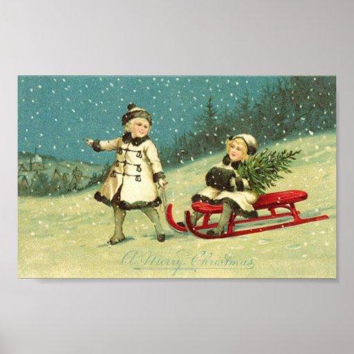 Niños en invierno póster