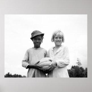 Niños en la casa de la colina, Mississippi - 1936 Póster