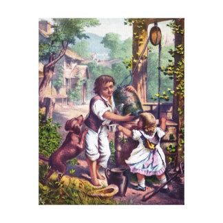 Niños en la pintura bien del vintage impresión de lienzo