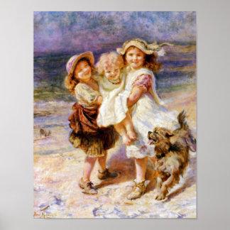 Niños en la playa impresiones