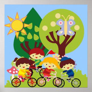 Niños en las bicis póster