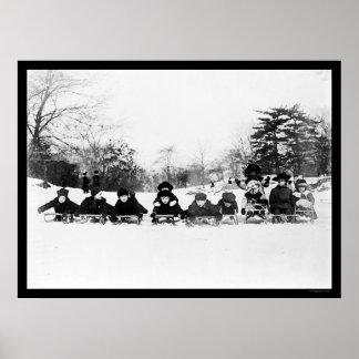 Niños en los trineos en el Central Park 1915 Impresiones