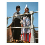 Niños en traje nacional holandés membrete a diseño