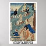 Niños extranjeros sledding por Utagawa, Yoshikazu, Posters