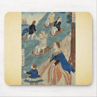 Niños extranjeros sledding por Utagawa, Yoshikazu, Alfombrillas De Ratones