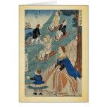 Niños extranjeros sledding por Utagawa, Yoshikazu, Tarjetas