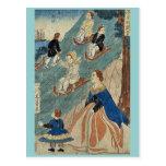 Niños extranjeros sledding por Utagawa, Yoshikazu, Postales