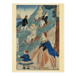 Niños extranjeros sledding por Utagawa, Yoshikazu, Tarjeta Postal