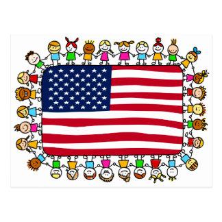 niños felices americanos tarjetas postales