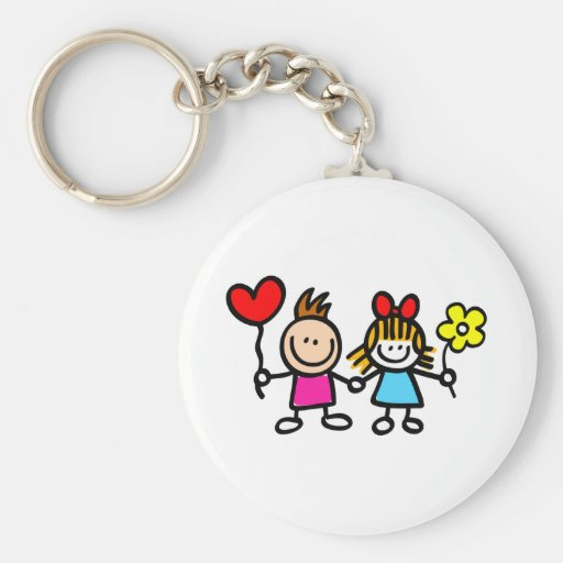 niños felices del amante con el globo de la forma  llavero