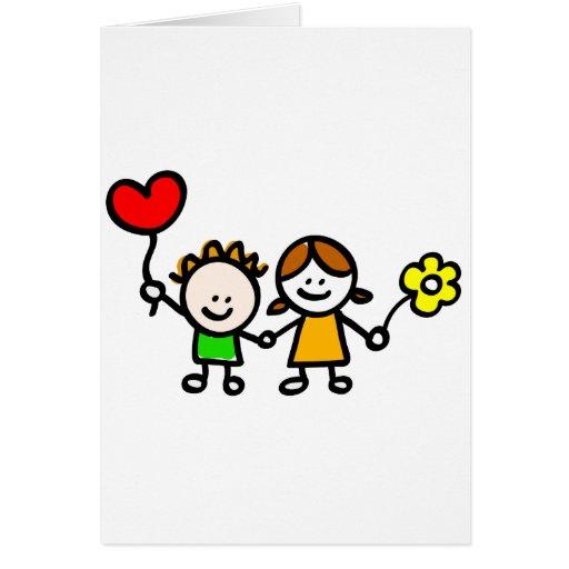niños felices del amante con el globo de la forma  tarjetón