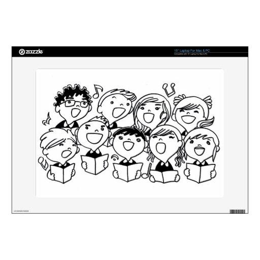 Niños feliz cantantes calcomanías para portátiles