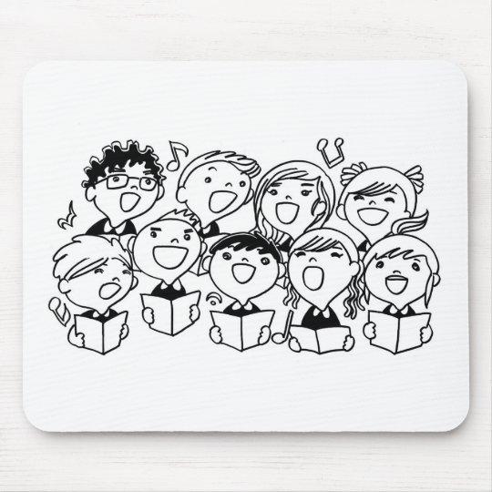 Niños feliz cantantes mousepads