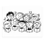Niños feliz cantantes postales