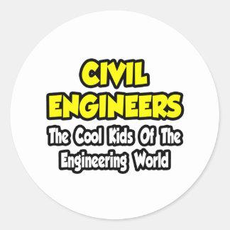 Niños frescos civiles de los ingenieros… del mundo pegatina redonda