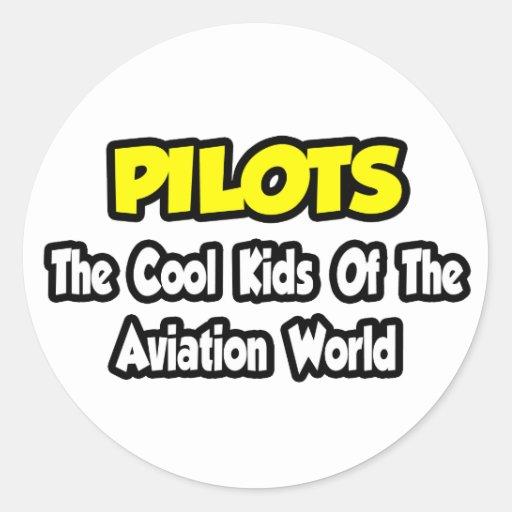Niños frescos de los pilotos… del mundo de la pegatina redonda