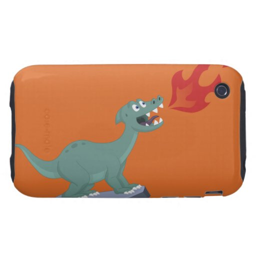 Niños Fuego-Que respiran arte del dinosaurio de Tough iPhone 3 Fundas