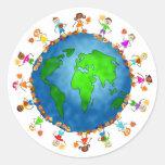Niños globales de la caída pegatina redonda