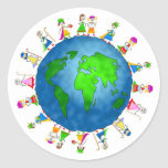 Niños globales de la natividad etiqueta redonda