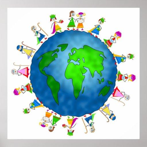 Niños globales de la natividad póster
