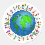 Niños globales del navidad etiquetas redondas
