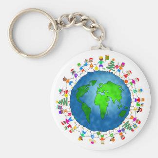 Niños globales del navidad llavero personalizado