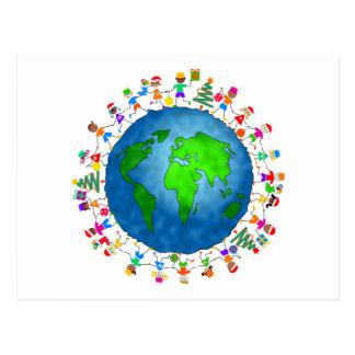 Niños globales del navidad postal