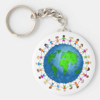 Niños globales llaveros personalizados