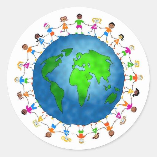 Niños globales pegatinas redondas