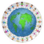 Niños globales platos para fiestas