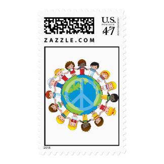 Niños globales sello postal