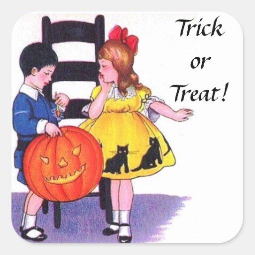 Niños Halloween Pegatina Cuadrada